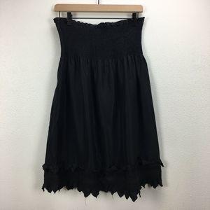 BCBGMAXAZRIA Black Silk Strapless Cocktail Dress